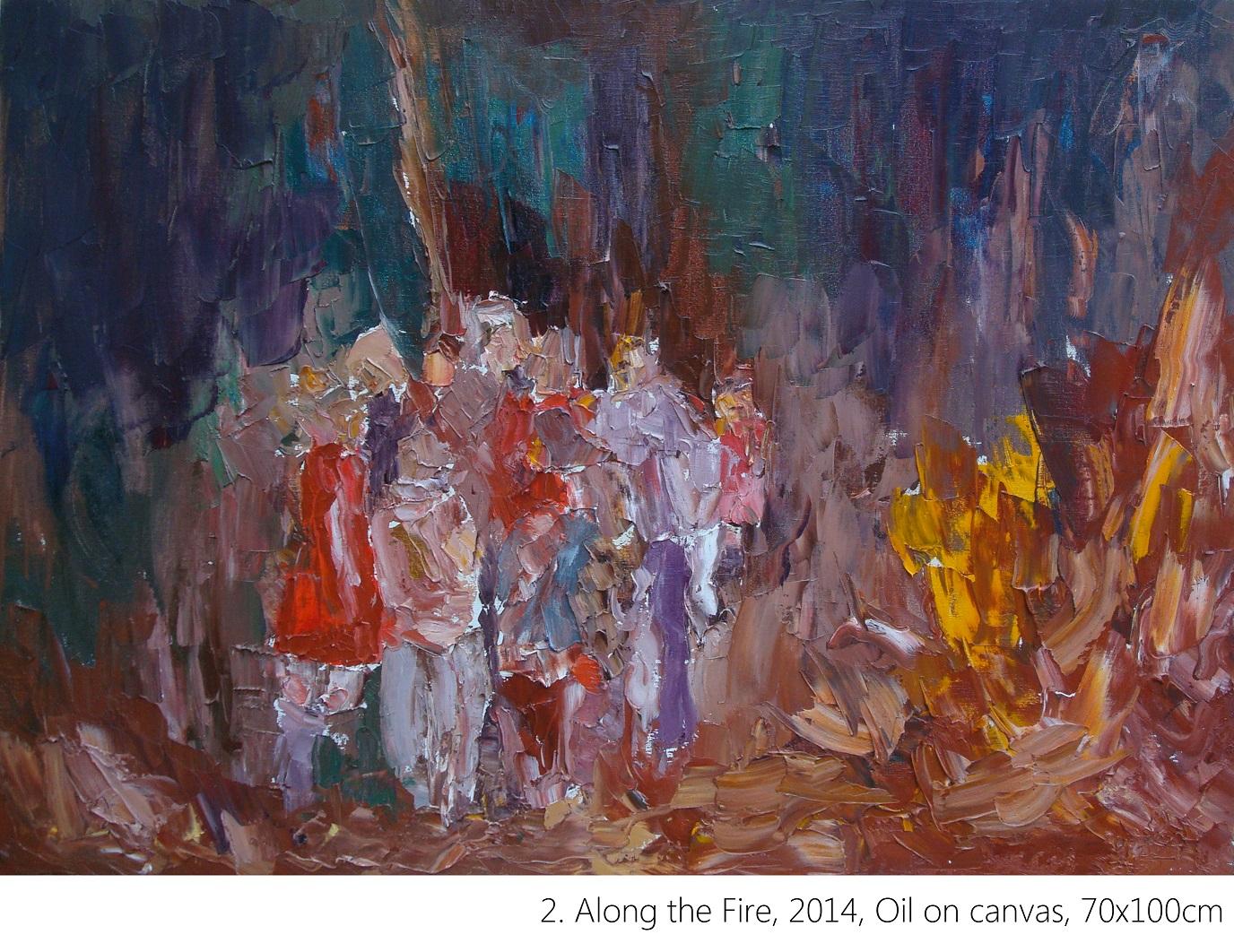 2. Along the Fire, 2014, Oil on canvas, 70x100cm