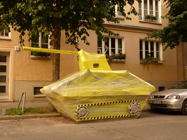 Guerilla Street Artists Make Cling Wrap Sculptures in Berlin (1)