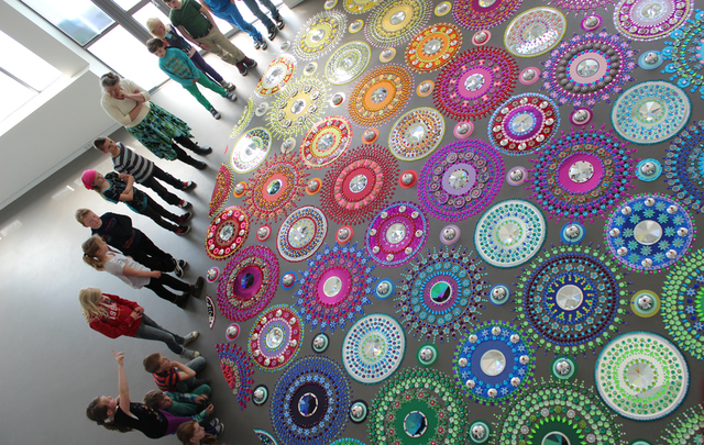 Kaleidoscope-Like Floor Installations Made of Colored Glass and Mirrors (1)
