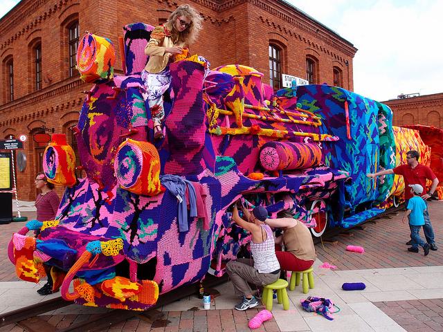Olek Covers Entire Locomotive in Crocheted Yarn (1)