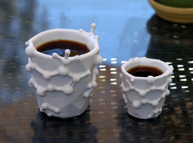 Coffee Mug and Espresso Cup Designed After the Caffeine Molecule (1)