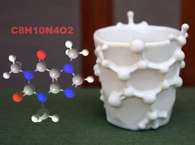 Coffee Mug and Espresso Cup Designed After the Caffeine Molecule (2)