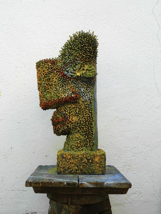 Festett fej, 2007, fa,+TŽlom,sz+TŽg, 70x18x23.