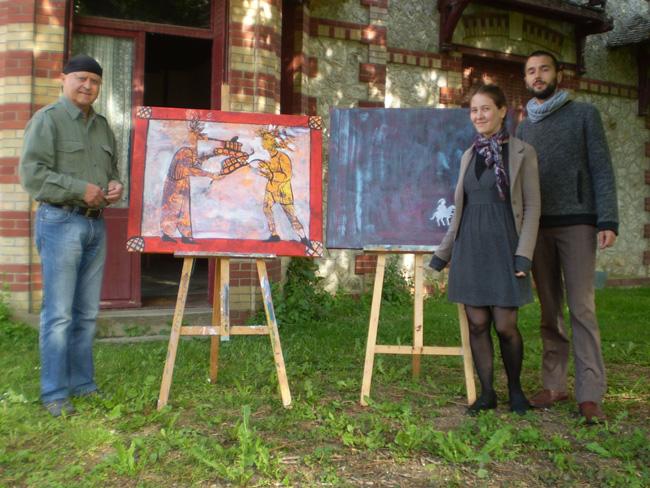 Mai-2014---Michel-Gavaza-et-les-deux-artistes-de-Timisoara,-Filip-et-Andreea,-à-la-Rabelais