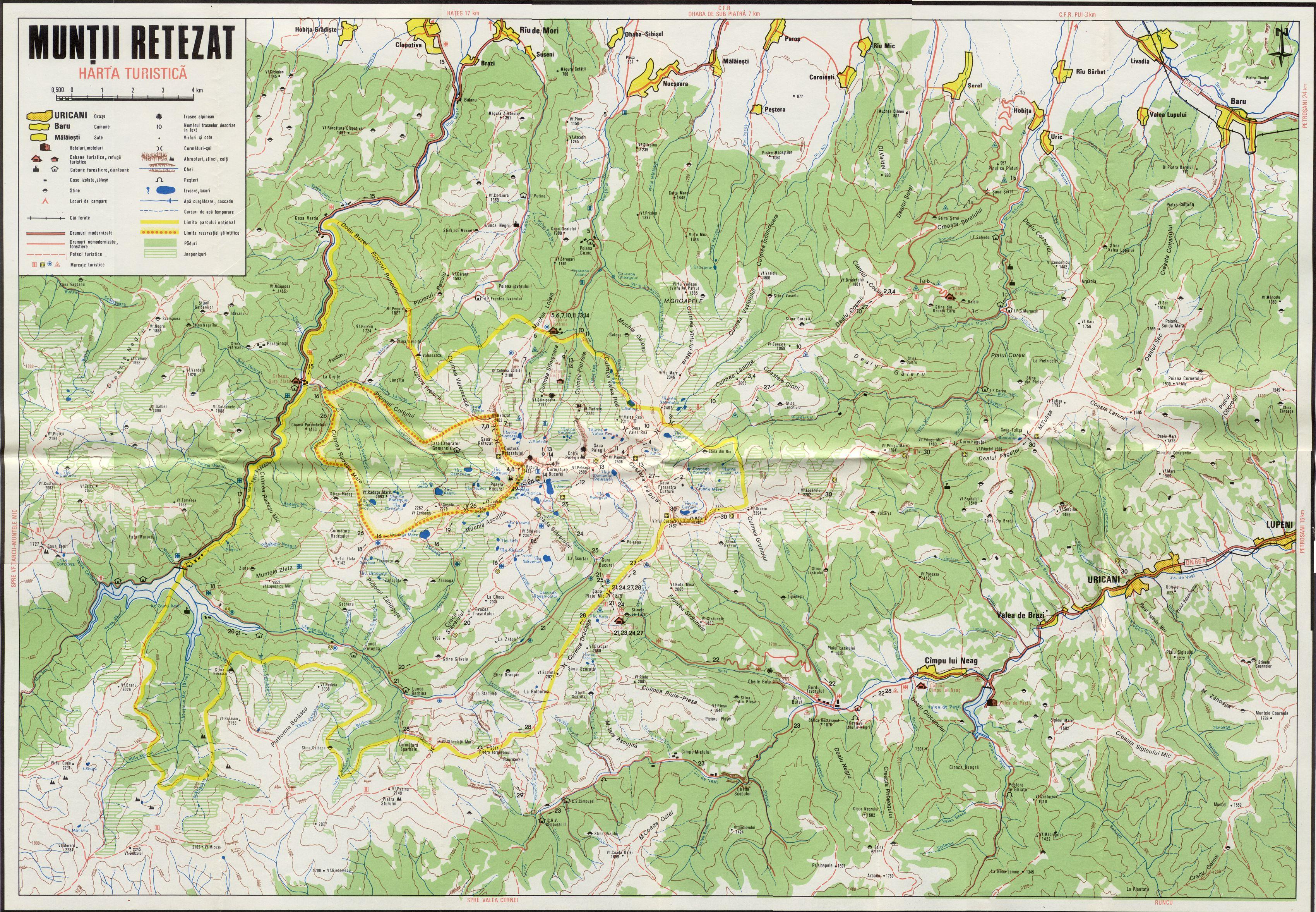 Harta Traseelor Montane In Masivul Retezat www.montaniarzi.ro