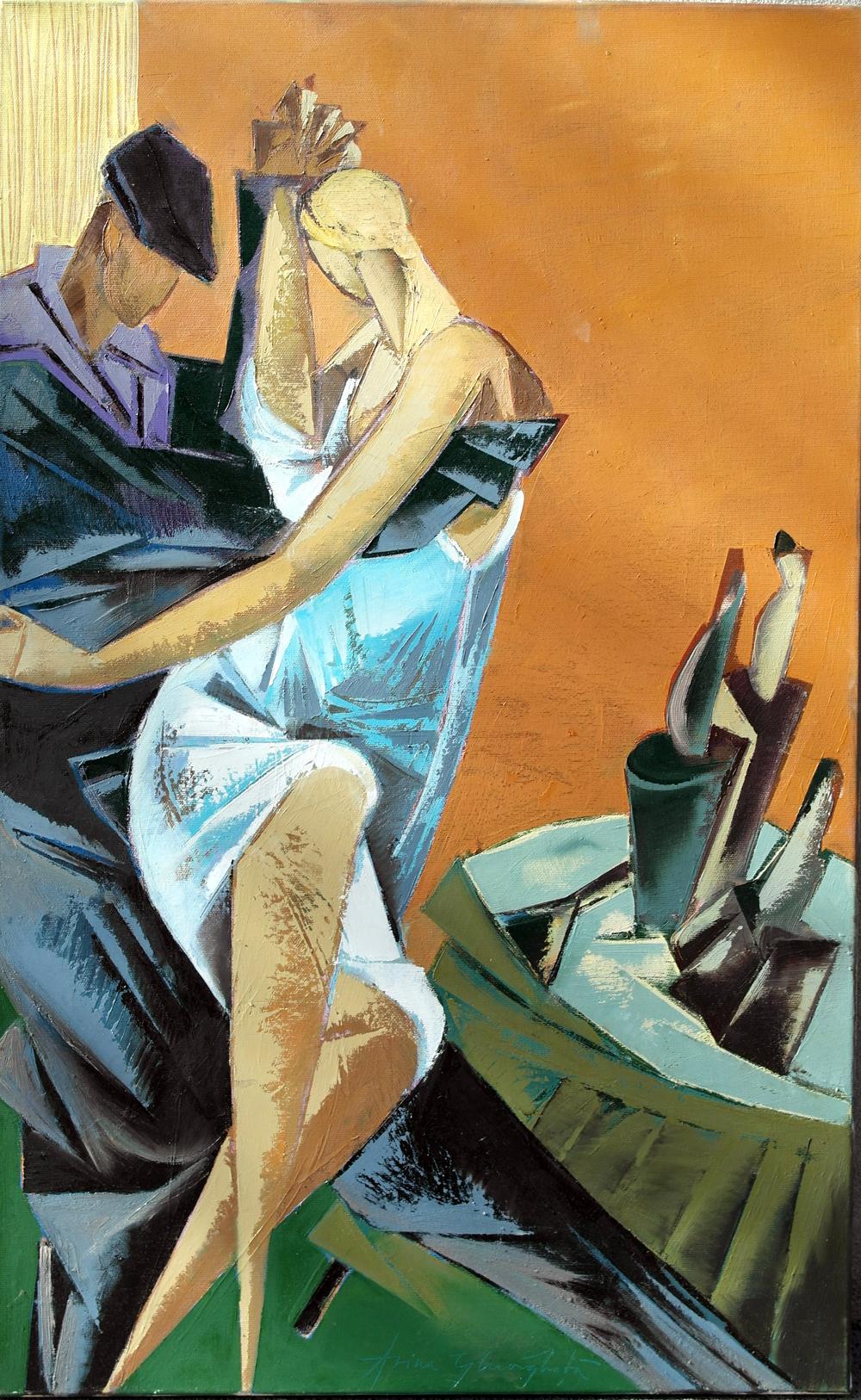 """Tango diagonal"", ulei pe pânză, 80x50cm, Arina Gheorghiță"