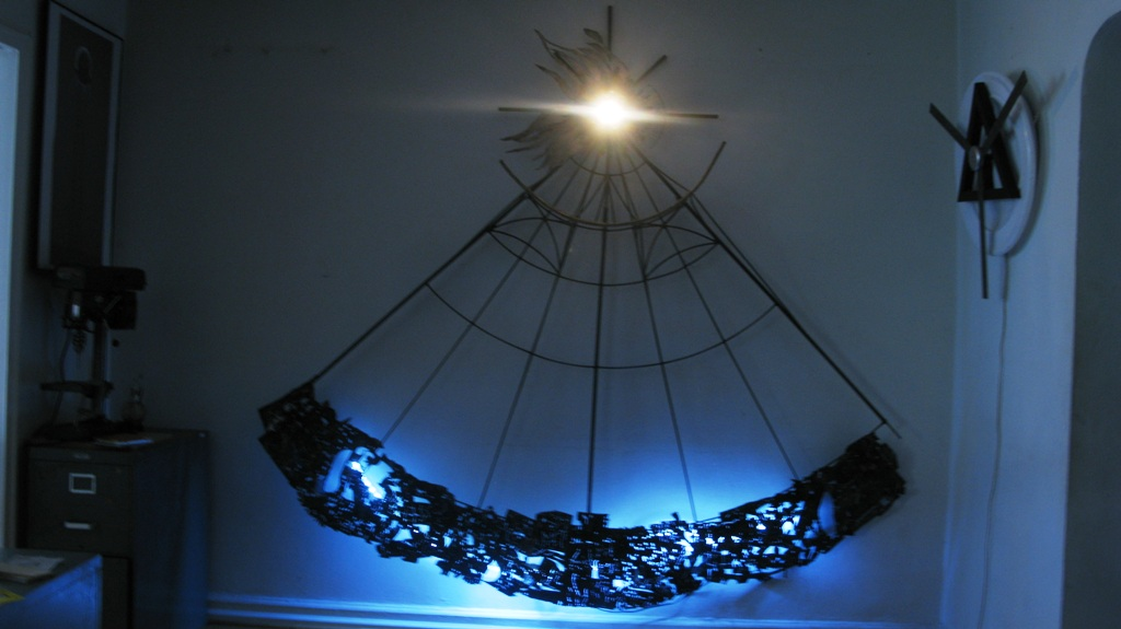 1 COSMOGONY Night view 90 x 90x 11 Weldwd Steel LED Light Glass Copper Bronze 2009