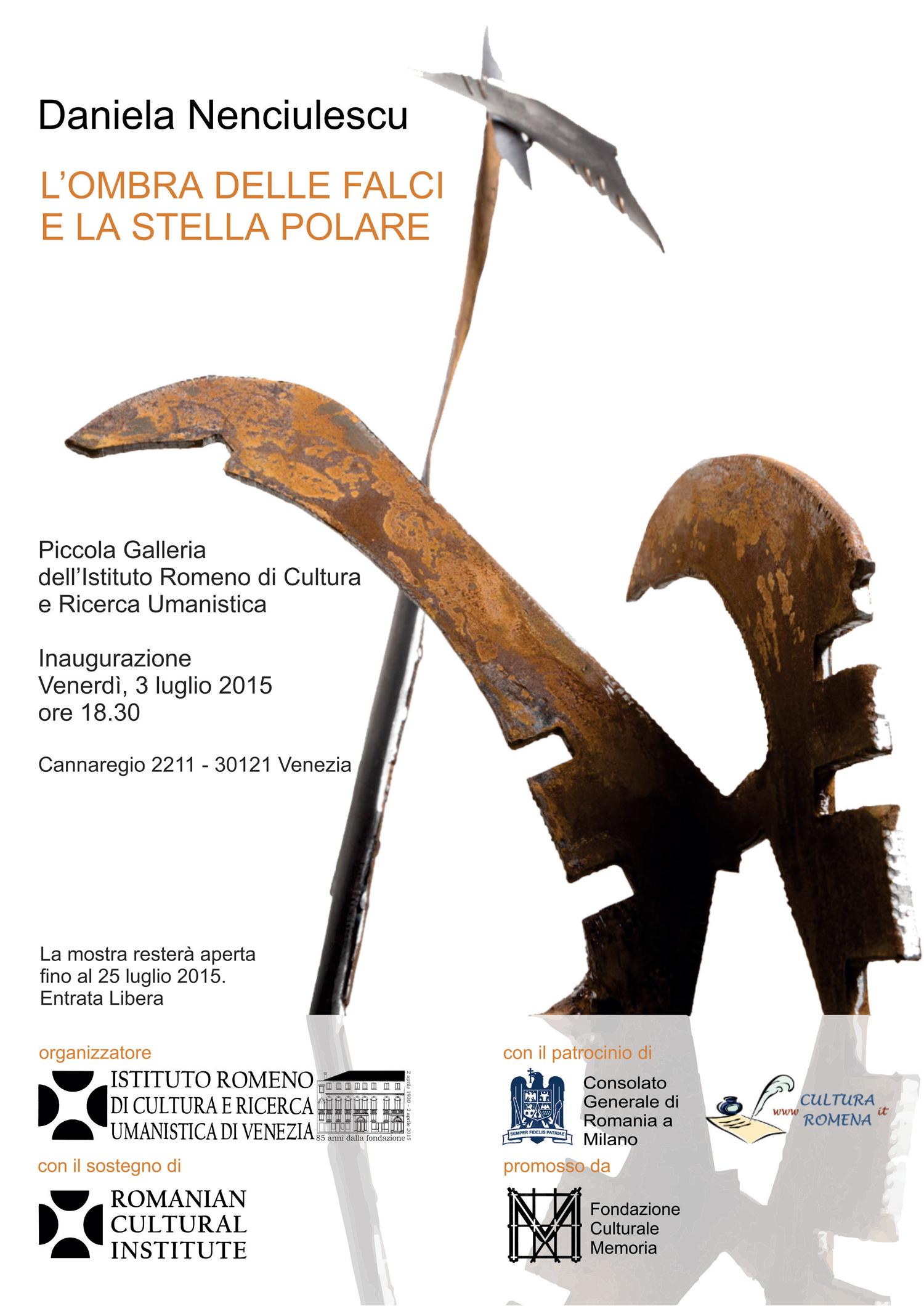 """Daniela Nenciulescu """"Umbra coaselor și Steaua Polară"""" @ Mica Galerie a Institutului Român de Cultură și Cercetare Umanistică de la Veneţia"""