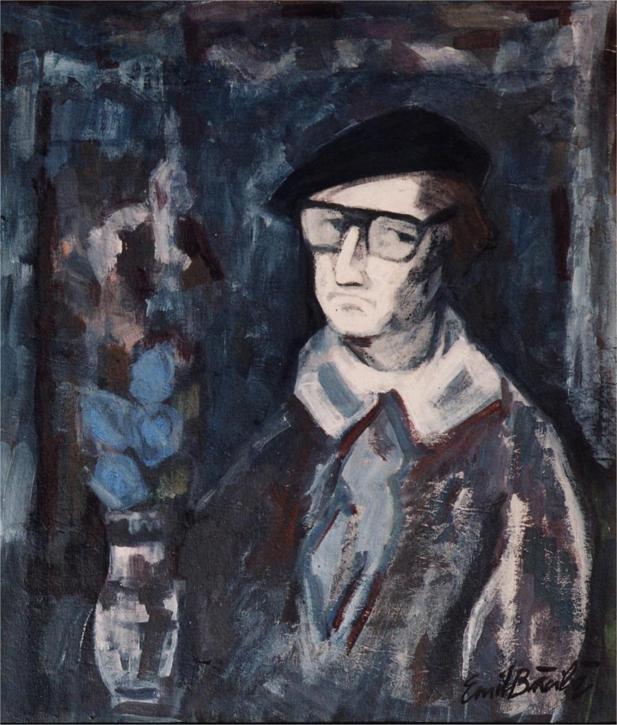 Autoportret-mixt (ulei+tempera) pe carton-70x80cm-semnat-1984