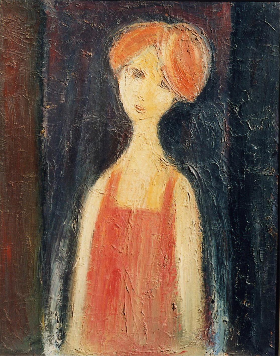 Portret de fata-ulei pe carton-65x80cm-nesemnat