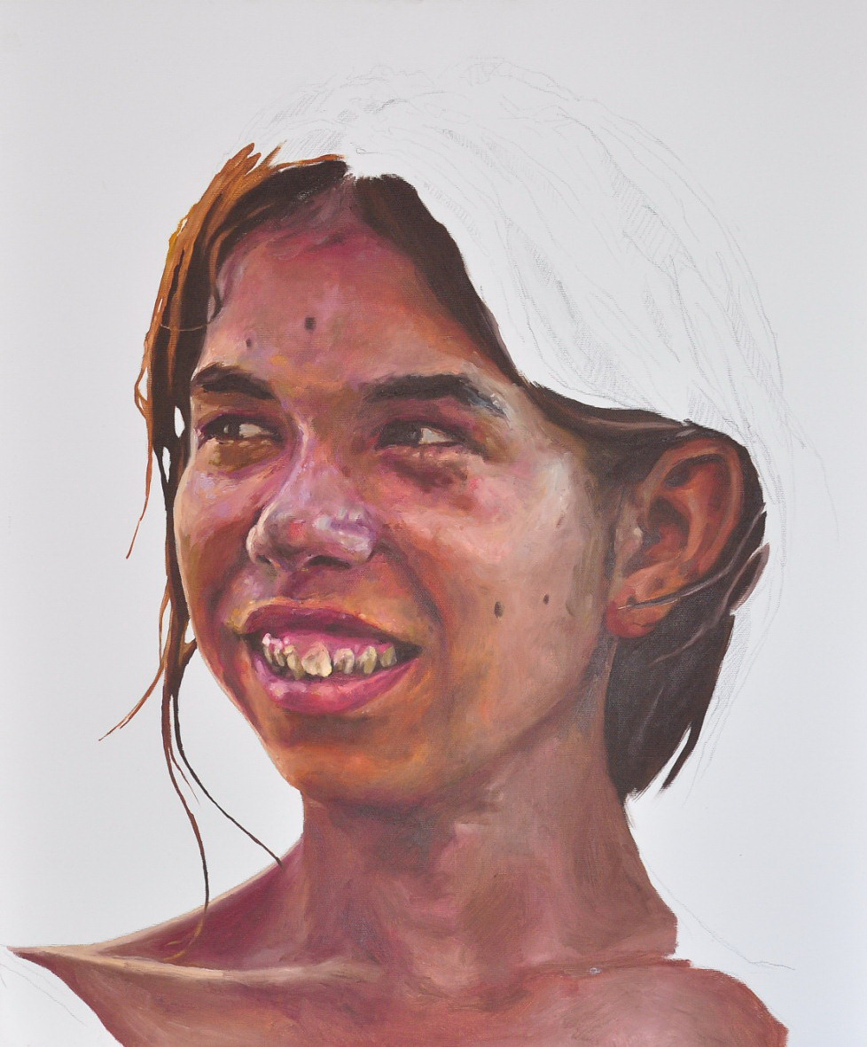 Daniel Brici, Say cheese!, 60x50cm, pencil, oil on canvas, 2009, courtesy Nasui collection & gallery