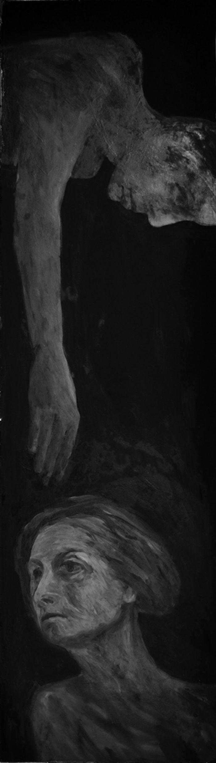 Anca Boeriu - Remomorari I, ulei pe lemn, 170x48 cm