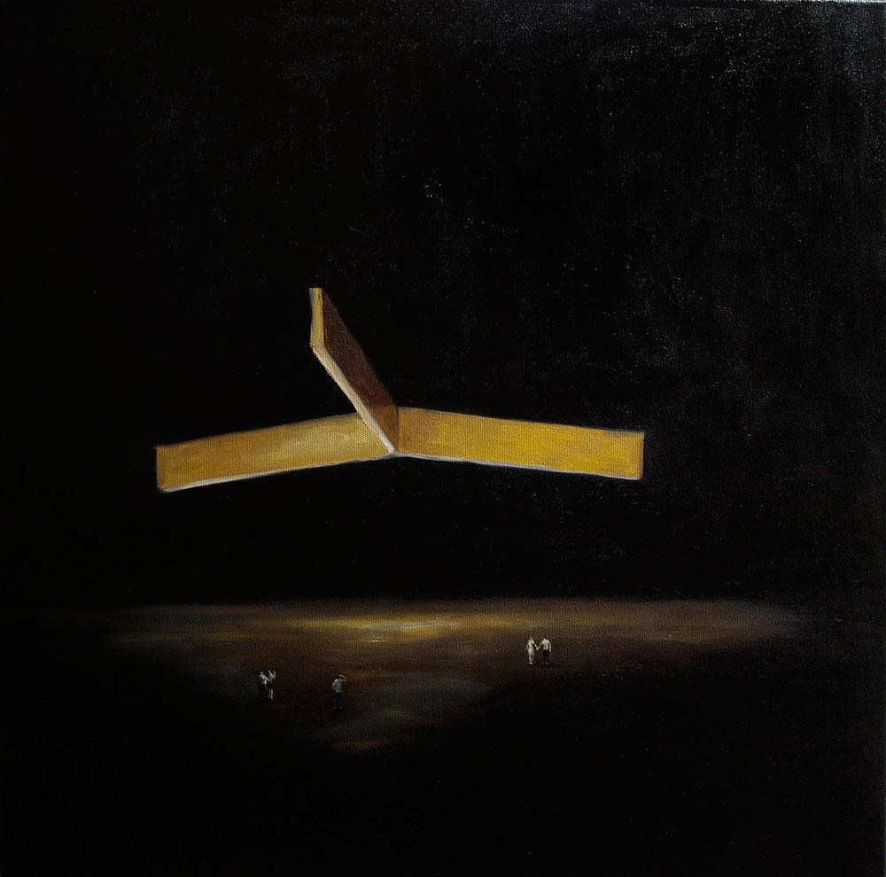 Andrei Berindan, ulei pe panza, 80 x 80 cm, Strange shape in the dark