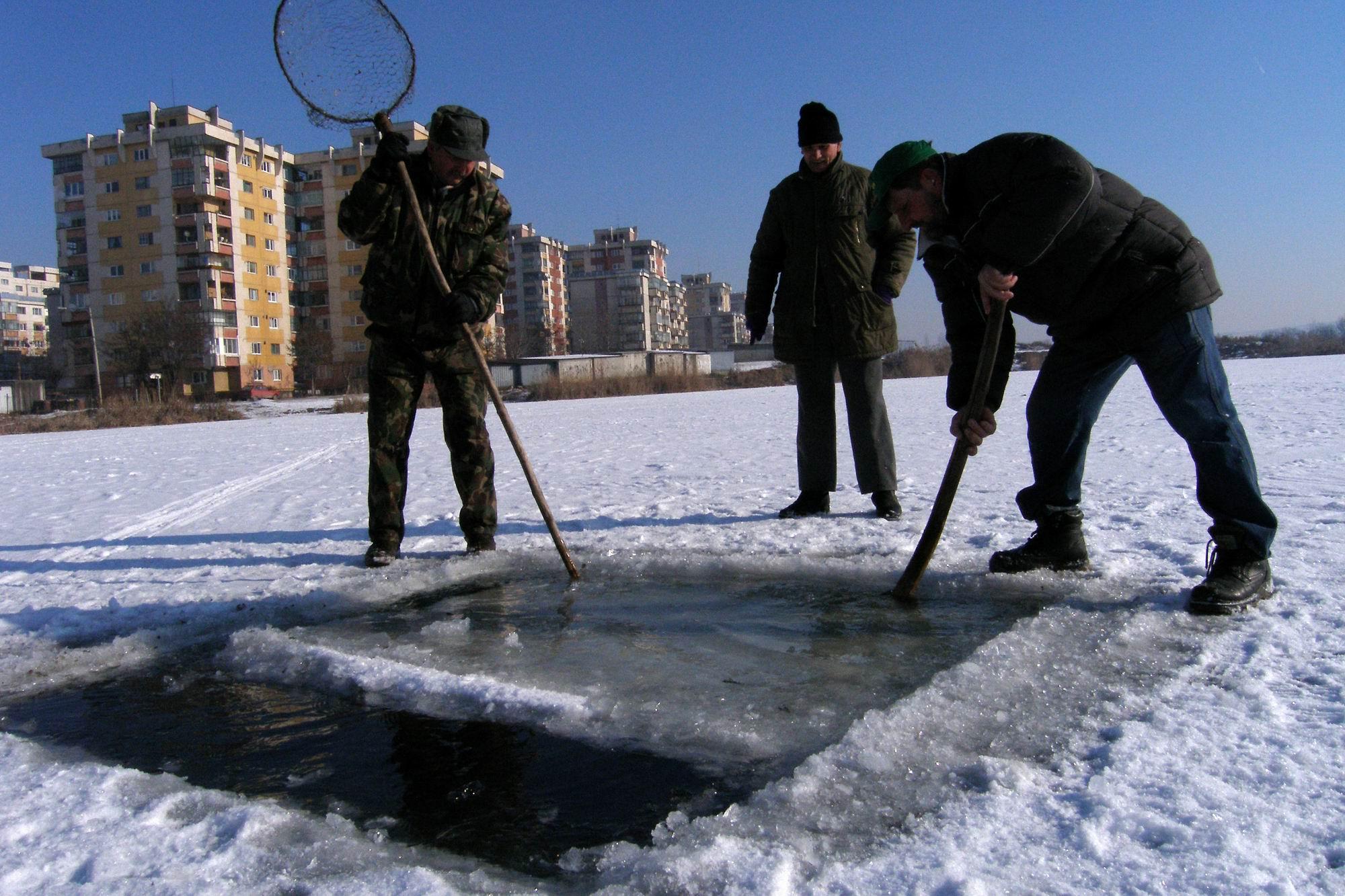 Un angajat de la AGVPS Cluj, impreuna cu doi pescari taie o copca, miercuri 25.01.2006,  in gheata groasa de peste 20cm, pe un lac din cartierul clujean Marasti. In cursul acestei dimineti s-au interistrat la Cluj-Napoca temperaturi de - 20 gradde Celsius. AGVPS este Asociatia Generala a Vanatorilor si Pescarilor Sportivi