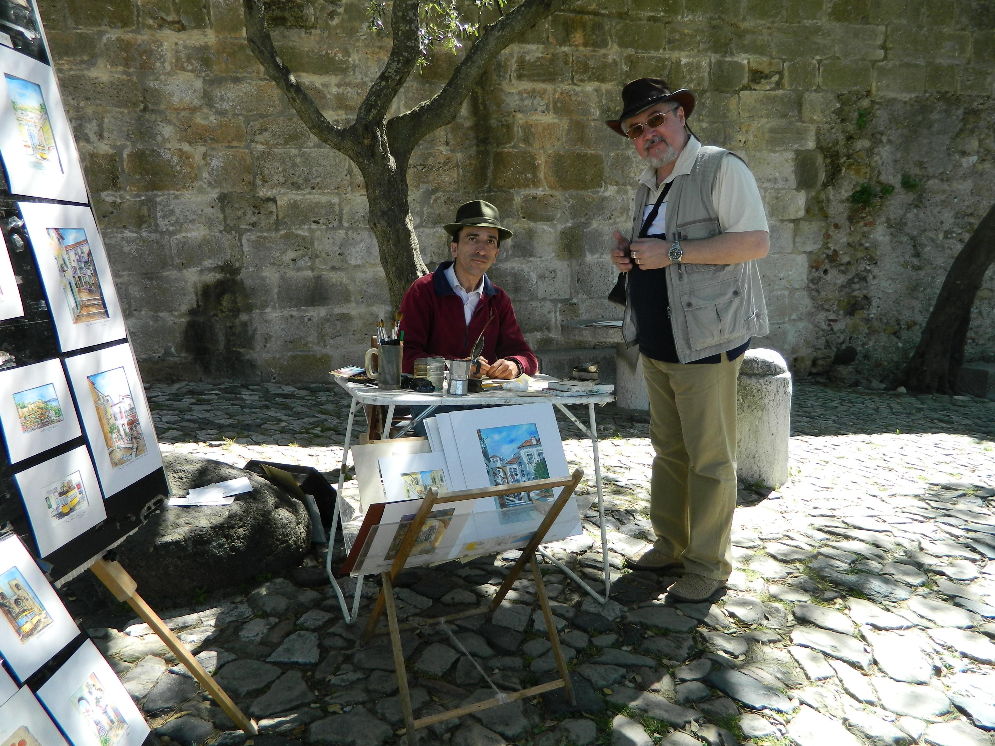 6 Acuarela in cafea la intrarea in castelul Sao Jorge din Lisabona