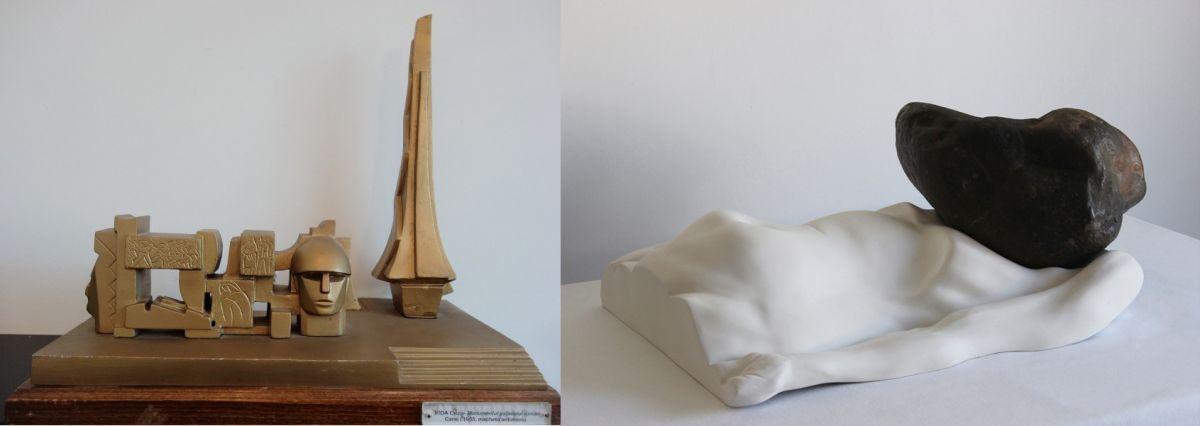 Diptic Postistoric Gheza Vida Macheta Monumentului Ostașului Roman Carei 1964 bronz 38×425 cm stanga si Bogdan Rața The Pressure 2015 Fibre river stone 66×42×27 cm