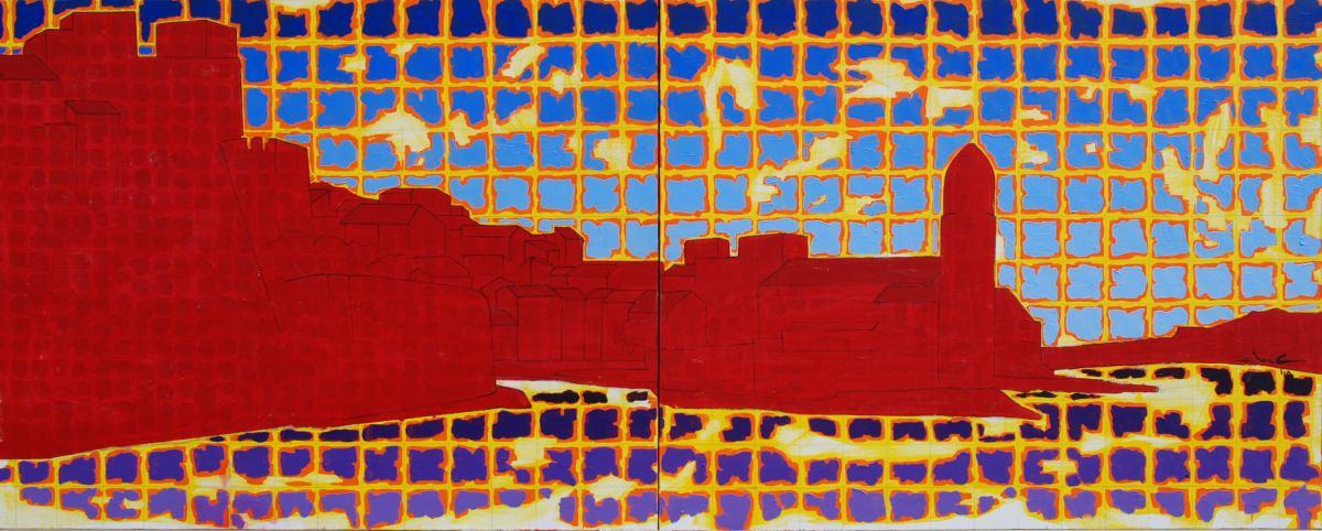 Costea Gelu - Le fauve Collioure - 2010 - acrylique sur toile - 80 x 200 cm - diptyque