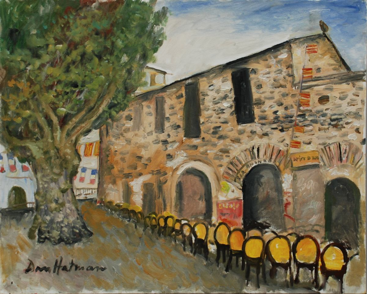 HATMANU Dan - Collioure place du 18 juin - 2008 - huile sur toile - 65 x 81 cm